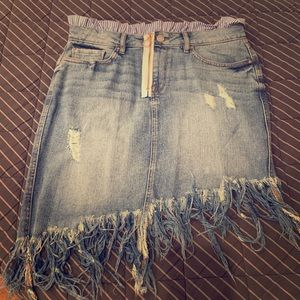 William Rast Fringed Blue Jean Skirt
